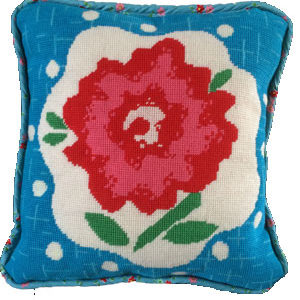 The HaNoi Flower cushion is the latest studio stitches design. Available in turquoise blue and gold.